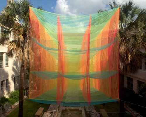 akane moriyama suspends transparent cubic prism in texas #cube