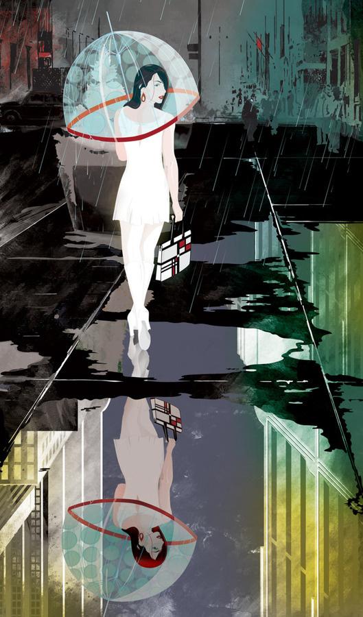 Love Street #sexy #umbrella #woman #illustration #rain