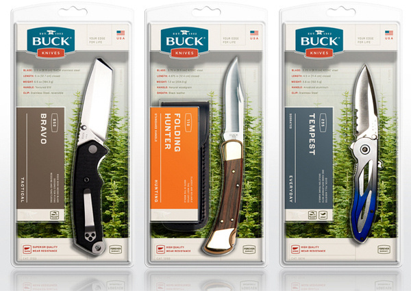 Buck Clam Shell PackagingBuck Knives appear at retail in sturdy clamshells that sell the knives with a technological, outdoor product story #mint