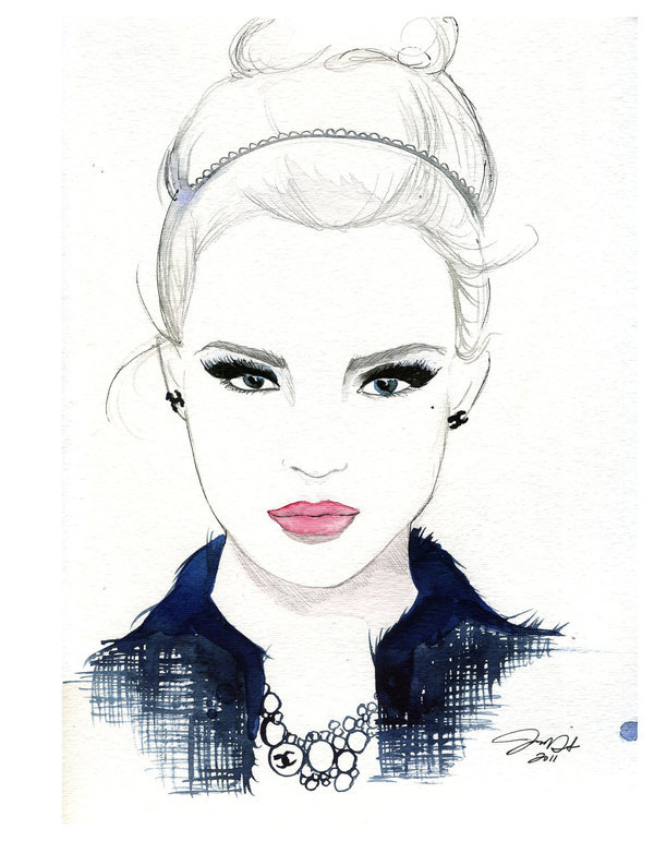 Watercolor and Pen Fashion Illustration She Wore Chanel print #acuarela #illustration #watercolor #woman