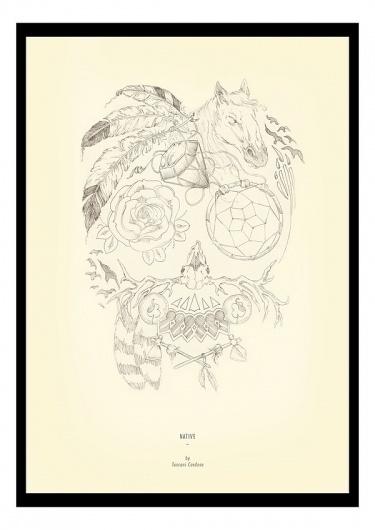 Illustration by Tuscani Cardoso #horse #feather #candy #illustration #tattoos #native #tuscani #skull #sketch