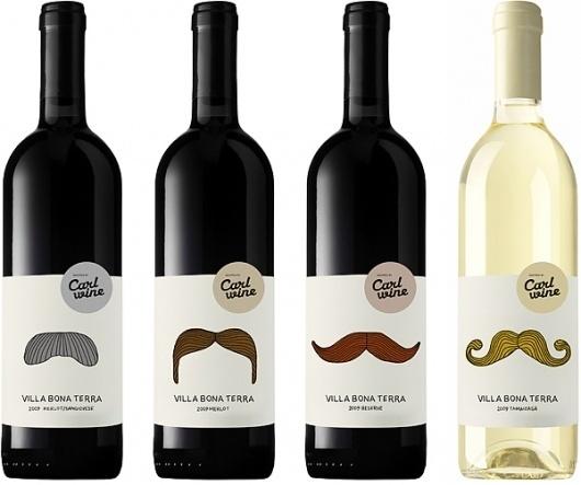Carl Wine : monkeyboy #packaging #wine #mustache