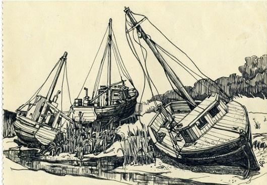 1-Boat-of-Rock-Harbour-Cap-Cod-.png 556×386 pixels #ink #drawing #pen #landscape