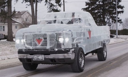 This Canadian truck is setting a record as the world's first drivable truck made out of ICE! #truck #design #product #industrial #ice #tires
