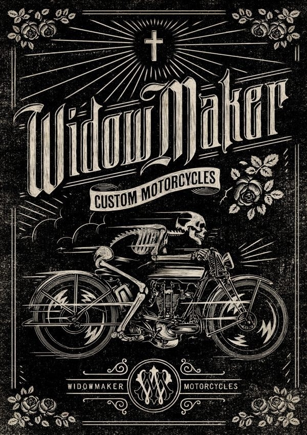 Widow Maker Motorcycles poster design #skeleton #black #type #skull #moto #motorcycle #typography