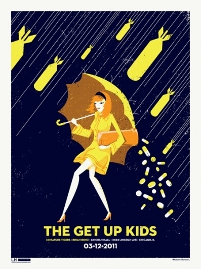 GigPosters.com - Brian Bonz - Miniature Tigers - Get Up Kids, The #gig #design #print #screen #illustration #adam #poster #hanson