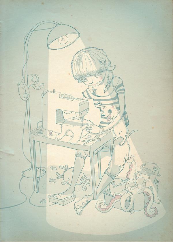 The Evil Needle Creature Illustration by Luiza Kwiatkowska #creative #monkey #illustration #monster #dog