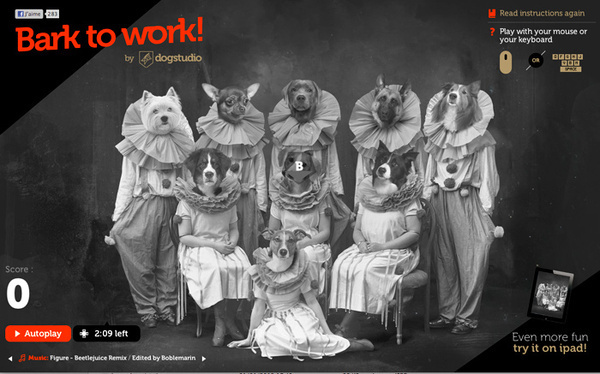 Bark to work #interactive #red #dogs #ui #sound #webdesign