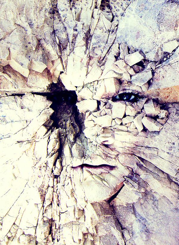 Bleak world of absent law #fragments #stone #hidden #photo #rock #eyes #break #manipulation #face