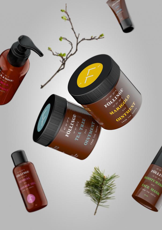 Logo and packaging designed by Amore for Swedish organic skincare range from Föllinge #skincare #packaging #serif #presentation #swedish