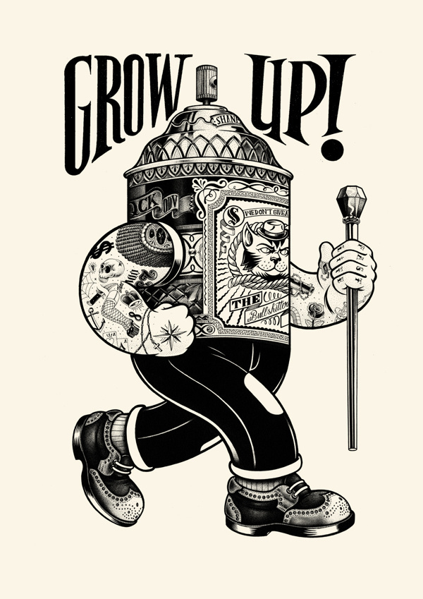 Grow up on Behance #ink #white #black #illustration #tattoos #and #spray #can