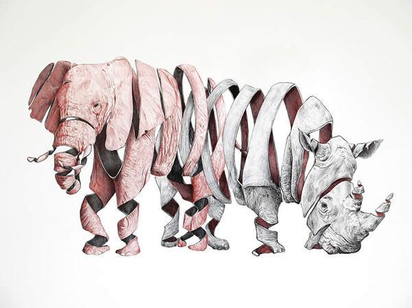 Elephant and rhino ribbon drawing by Jaume Montserrat #rhino #elephant #illustration #ribbon #art #animals #surreal #drawing