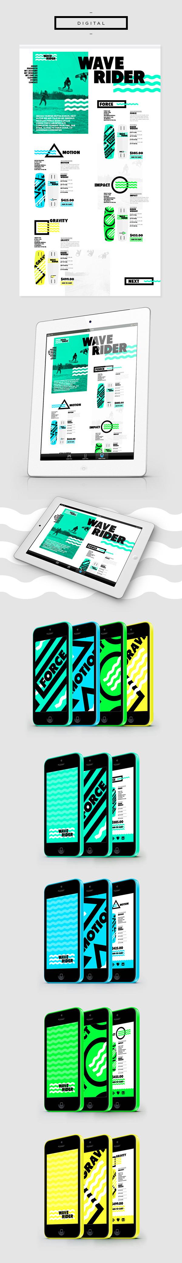 WAVERIDER // Branding on Behance #water #branding #black #shape #identity #sea #logo #green