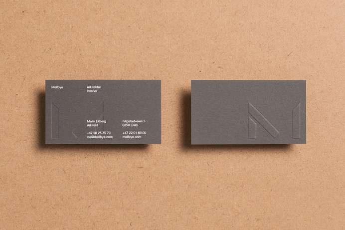 Logo and business card with blind emboss detail designed by Heydays for architecture firm Mellby #card #identity #collateral #business