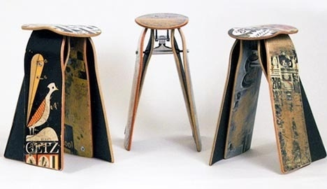 recycled skateboard stools #table #kate