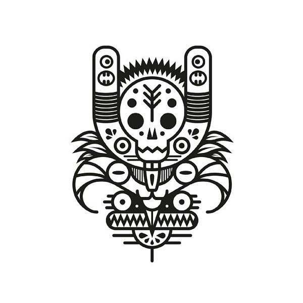 Black & white totem series. http://society6.com/MuratSunger shop #print #illustration #art #shop