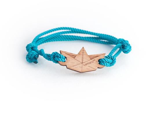 Paper #boat Kemono #bracelet - wood edition - #sea life #product #jewel