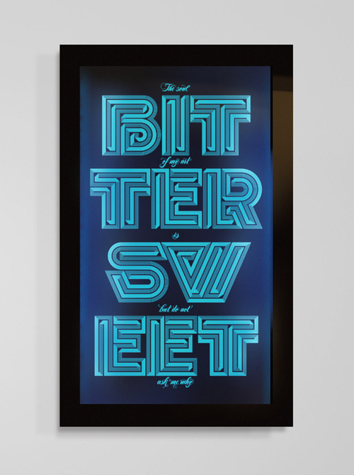 Typeverything.comTypographic artwork laser engraved onto perspex with backlight by Sawdust #typography #design #laser #backlit #type #bittersweet #neon