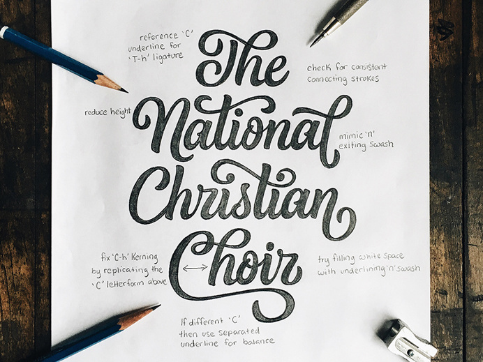 The National Christian Choir Lettering by Colin Tierney