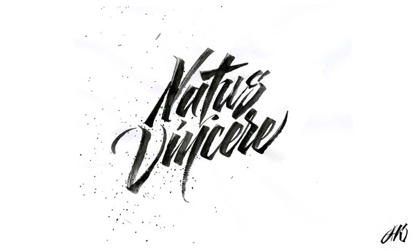 calligraphi.ca  Natus Vincere sketch for a t shirt print ruling pen, ink, paper Kinessisk #calligraphy