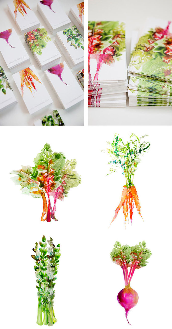 Alliteration Inspiration: Veggies & Vacation / on Design Work Life #watercolor #vegetables #business cards #cards #branding