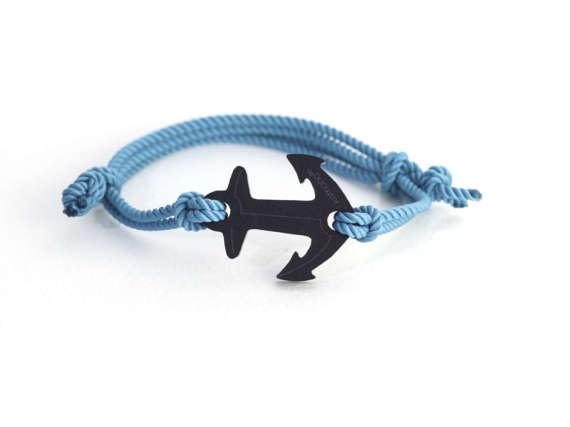 kemono bracelet anchor - black edition - orange cord