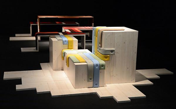 Transformations installation by Maarten de Ceulaer for Fendi materials furniture 2 exhibit design #straps #wood #leather #installation