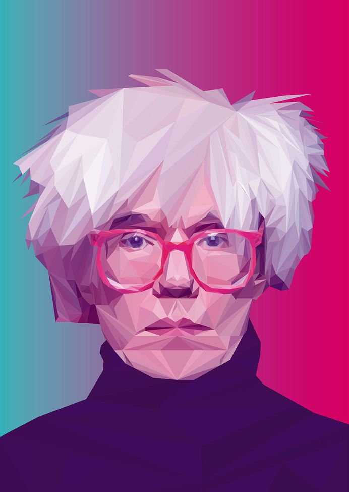 Andy Warhol - Low Poly High Poly Portrait