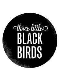 three little black birds #circle #black #birds #distressed #three #logo