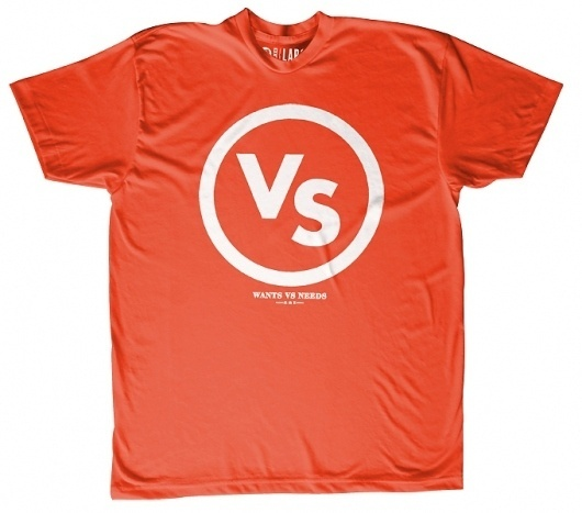 VS Mark | Wants Vs Needs #design #graphic #red #shirt