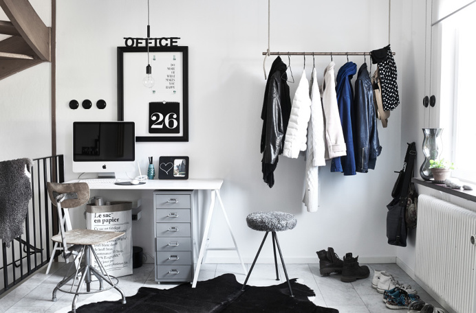 Black and white minimalistic home furnishing