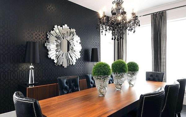 wallpaper, chairs, topiary