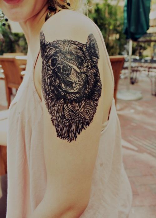 fuckyeahtattoos:There #bear #tattoo