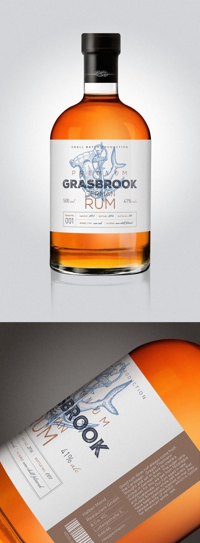 "New rum brand ""Grasbrook"" #packaging #graphicdesign"