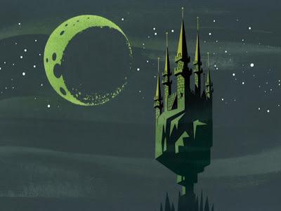 PUMML #castle #graphic #black #stars #moon #blue #dark #green