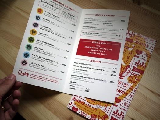 Matt Stevens // Creative Direction + Design - WORK BLOG - Process: JJ's Red Hots - Pt.02 / Extending theBrand #menu #color #retro #badges #typography