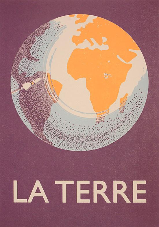 La Terre #globe #world #poster #type #typography
