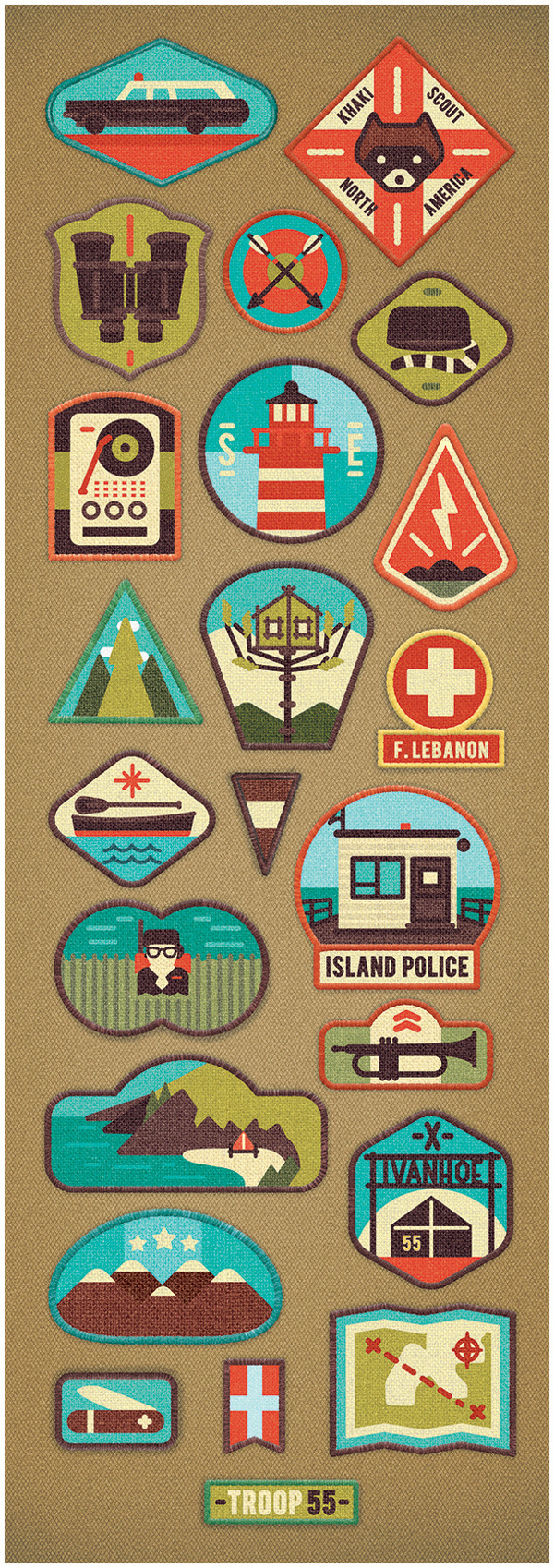 illustration, badge, icons