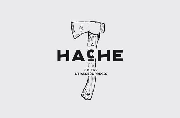 La Hache Logo designed by Drach P Claude #icon #logo #hatchet