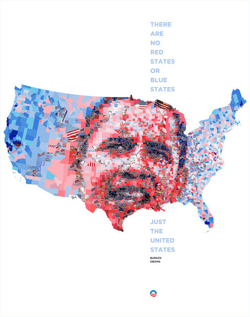 There are no red states and blue states, just the United States. #elections #uscounties #map #photomosaic #politics #obama
