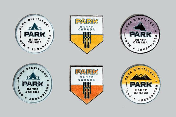 Park Restaurant & Distillery, Glasfurd & Walker, Swiss, Color block, Minimal, Patches
