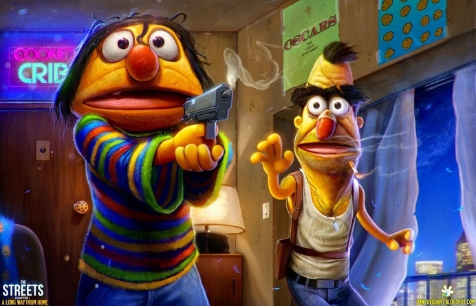 Phyco Ernie & Bert illustration by Dan Luvis #illustration #muppets