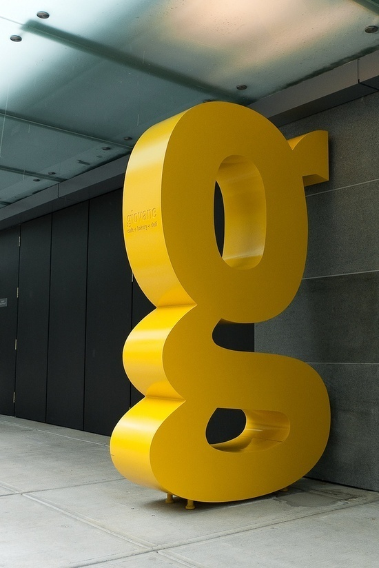 Big Yellow Trade Gothic 'g' This reminds me of the Ivan Chermayeff 9 in new York (but obviously on a smaller scale) It was created f #scale #chermayeff #obviously #created #yellow #trade #big #gothic #ivan #smaller #york #reminds #new