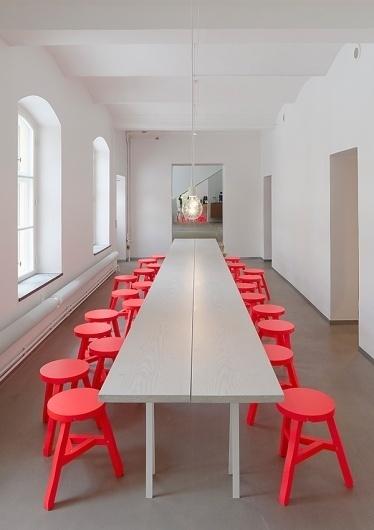 Interior Ideas for the Home Office: modern Scandinavian style | Modern Interiors #interior #red #design #swedish #stools