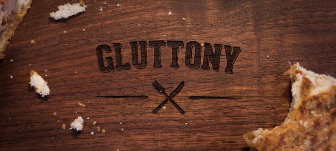 Kaldor | Gluttony #cut #walnut #gluttony #project #word #design #food #laser #type