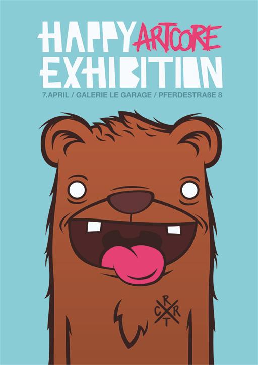 happy artcore exhibition #bear #illustration #flyer #poster