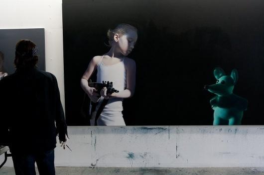 Gottfried Helnwein | WORKS | Mixed Media on Canvas | Helnwein working on #canvas #painting #art #installation
