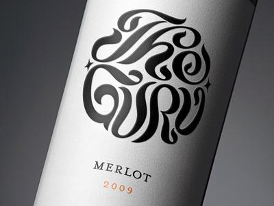 Guru #lettering #bottle #wine #logo #typography