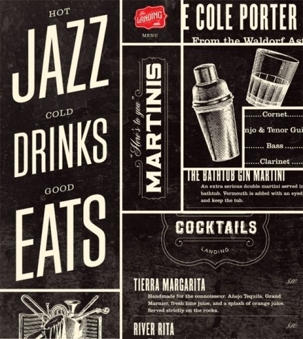 31_menucollage2-440x492.jpg (440×492) #martinis #seats #jazz #alcohol #shaker #gin #drinks #cocktails #typography