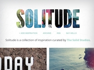 Dribbble - SOLITUDE by Jared Laham #type #design #graphic #color #mask #logo #typography